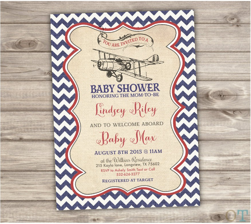 vintage airplane baby shower invitations