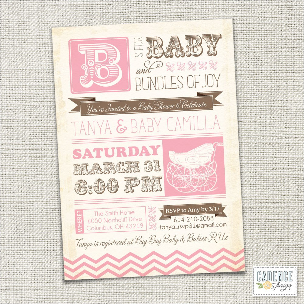 baby shower invitation baby carriage
