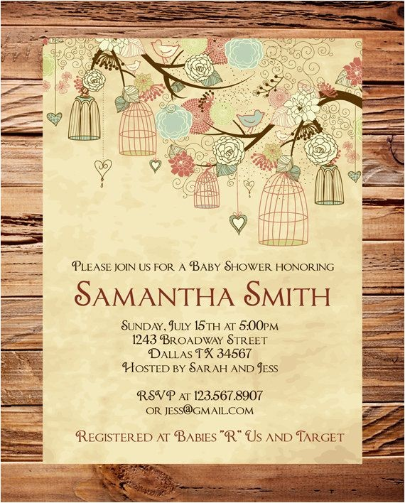 Antique Baby Shower Invitations Vintage Baby Shower Invitation Vintage Birdcages Baby