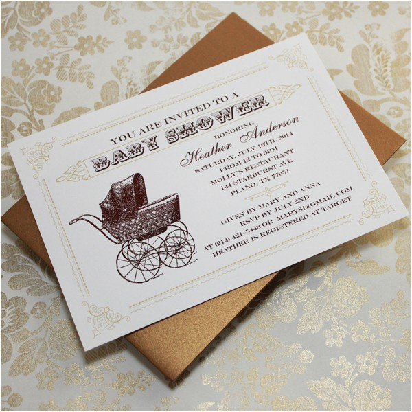 vintage baby shower invitations template
