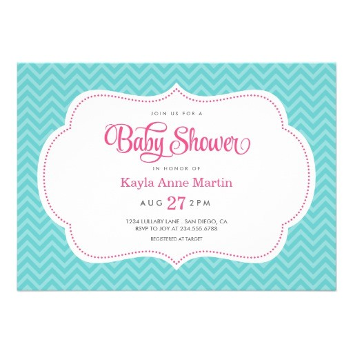 turquoise and pink sweet chevron baby shower invitation