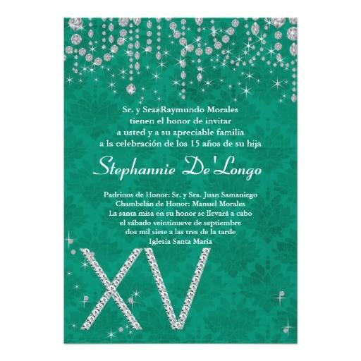 5x7 aqua diamond quinceanera birthday invitation 161435236511540055