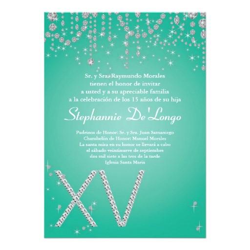 5x7 aqua diamond quinceanera birthday invitation 161016109366155964