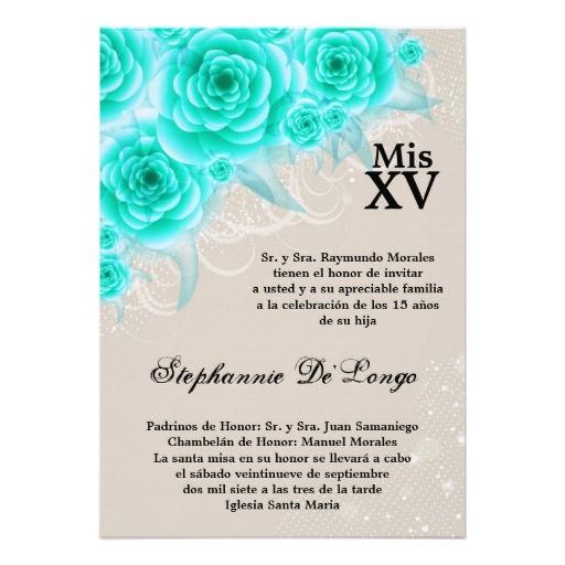 5x7 aqua roses quinceanera birthday invitation 161109521692083606