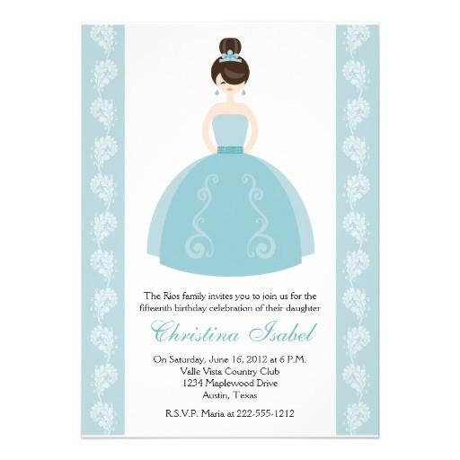 aqua blue dress brunette quinceanera invitations 161339697260820960