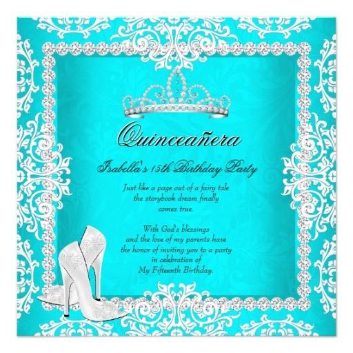 aqua quinceanera 15th birthday tiara high heels invitation 256370446957861879