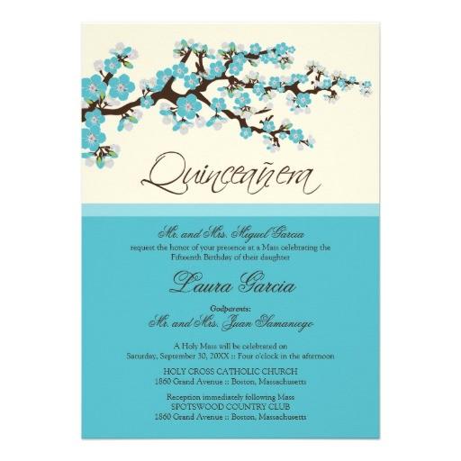 cherry blossom quinceanera invitation aqua 161304875349370841