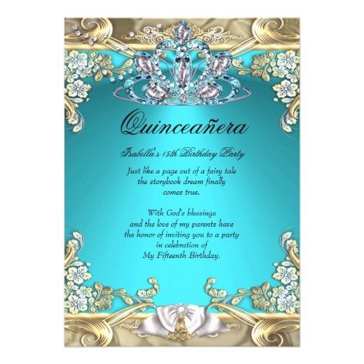 quinceanera aqua teal gold 15th birthday party 5x7 paper invitation card 161426568758696814