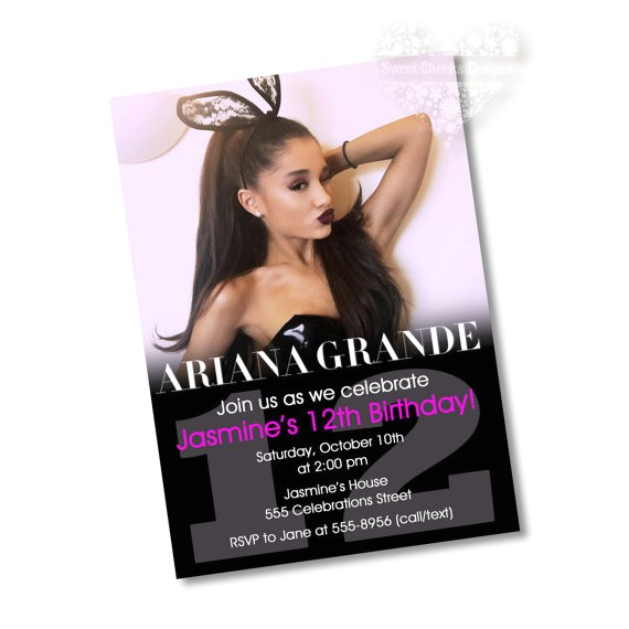 ariana grande birthday party invitation
