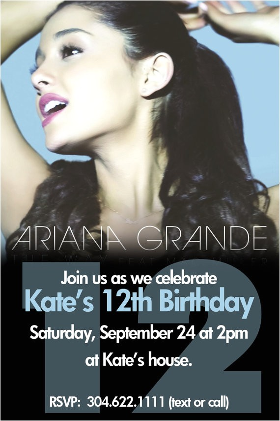 Ariana Grande Birthday Invitations Items Similar to Ariana Grande Party Invite Printable On