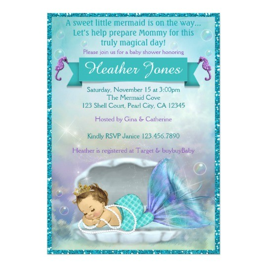 adorable mermaid baby shower invitations 130