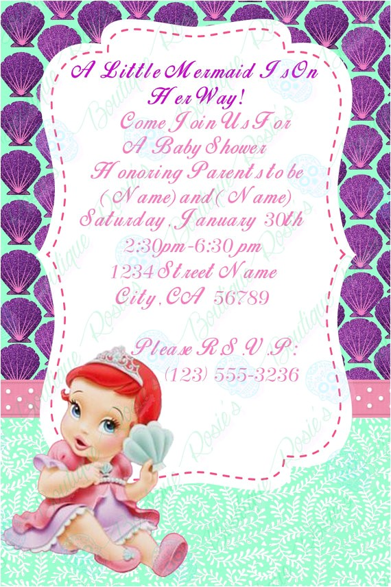 baby ariel baby shower invitations