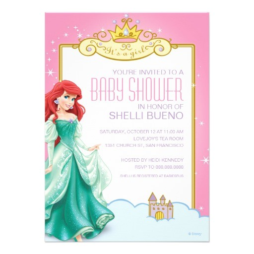 disney princess ariel its a girl baby shower invitation