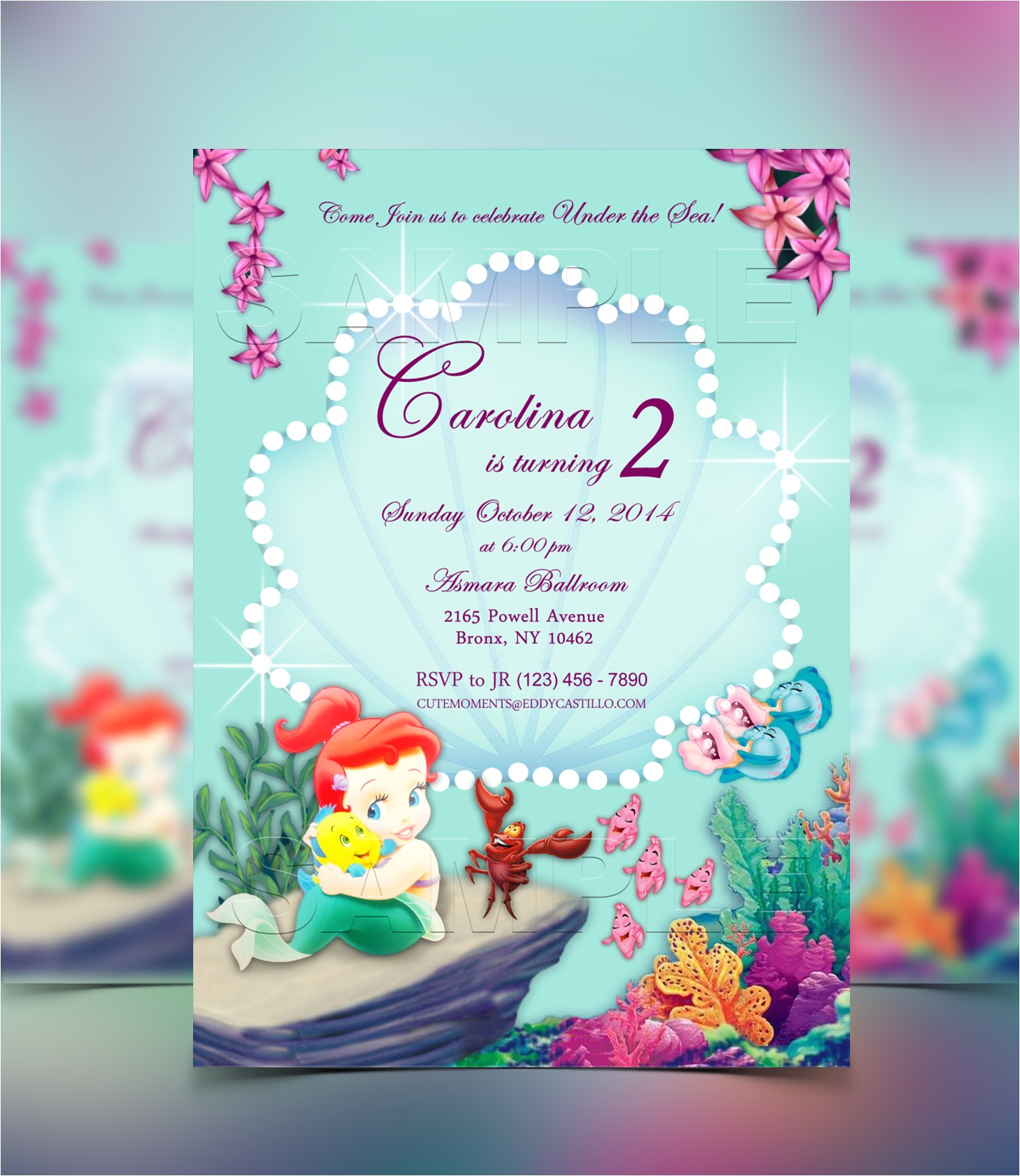 little mermaid baby shower invitations