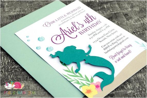 ariel mermaid invitations a6 flat