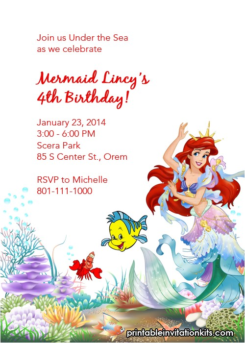 post ariel free birthday printables