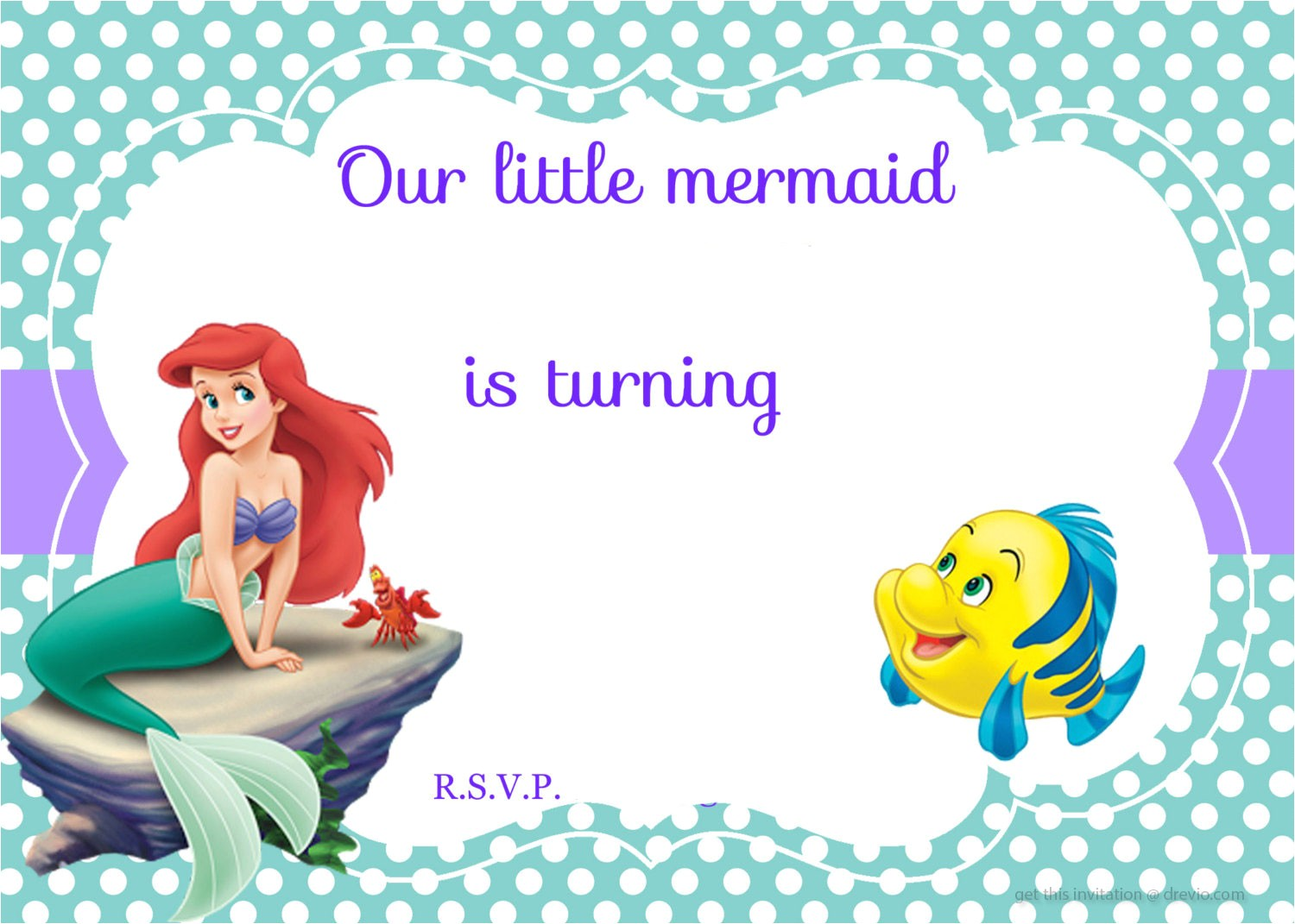 free printable ariel the little mermaid invitation template