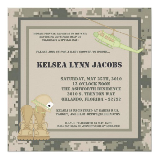 5x7 baby shower invitation army camo acu print
