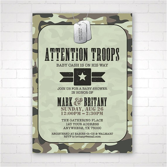 diy army themed baby shower invitation
