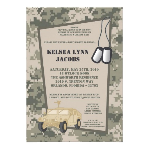 "Army Camo Baby Shower Invitations 5×7 Baby Shower Invitation Army Camo Acu Print 5"" X 7"
