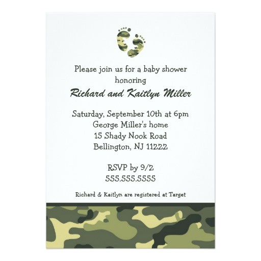 camo army green baby feet shower invitation