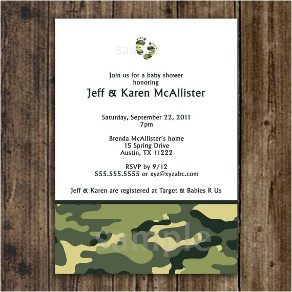 camo baby shower invitation army green