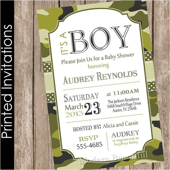printed camo baby shower invitation army