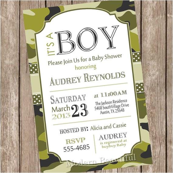 camo baby shower invitation army baby