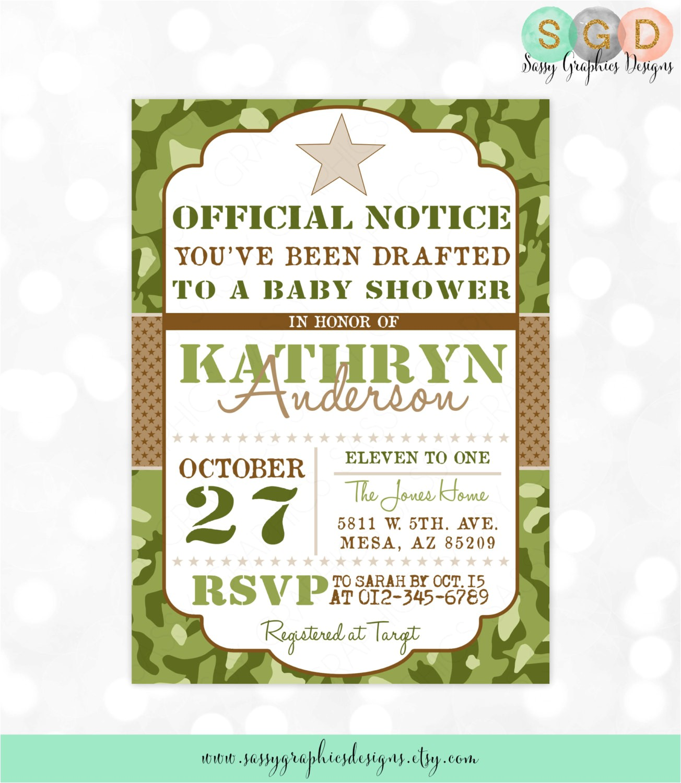 camo boy baby shower invite military