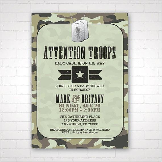 Army themed Baby Shower Invitations Diy Army themed Baby Shower Invitation
