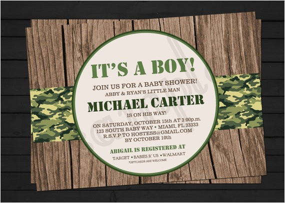 rustic camo army themed birthday or baby