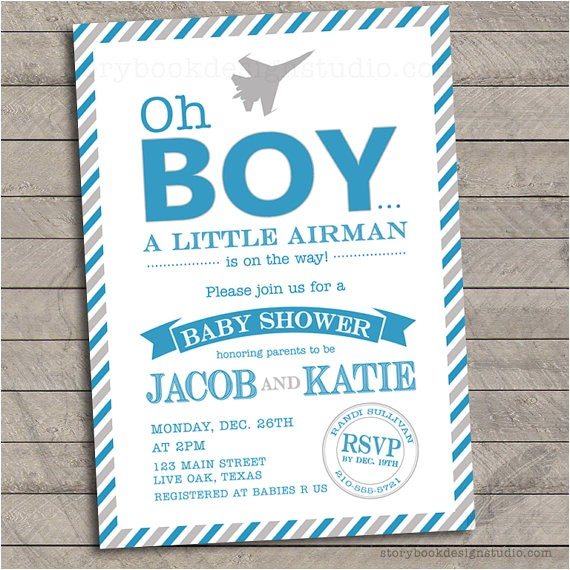 oh boy military baby shower invitations