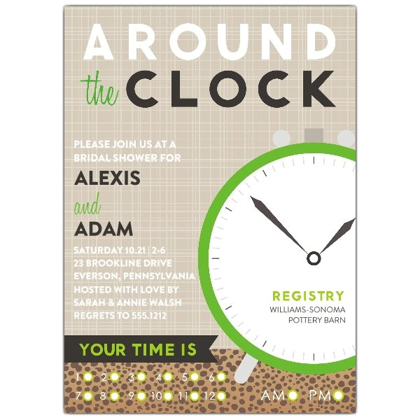 Around the Clock Bridal Shower Invitations Around the Clock Shower Invitations
