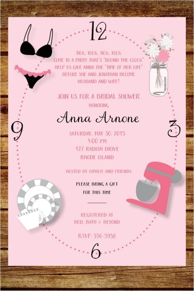 around the clock wedding shower invitation custom around the clock bridal shower digital file printable