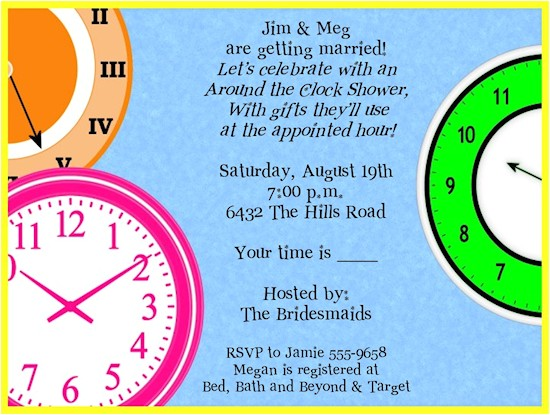 around clock bridal shower invitations