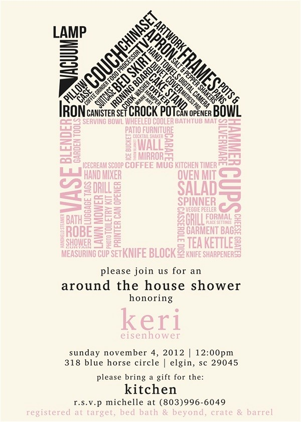 around the house wedding shower invitation