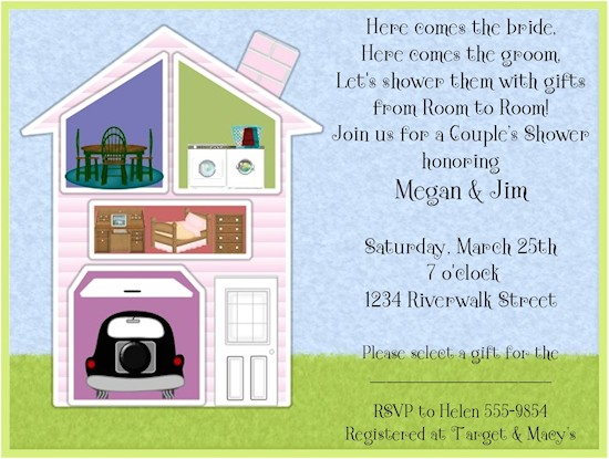 bridal shower invitations around the house