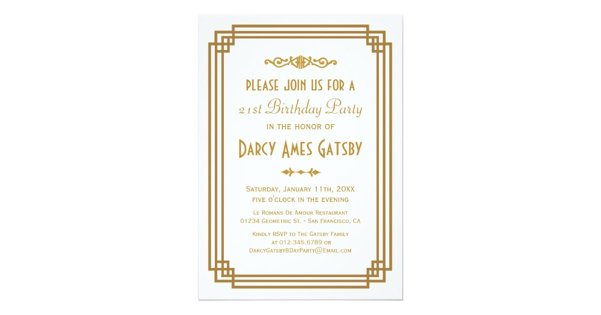 art deco birthday party invitations 161133226232664998