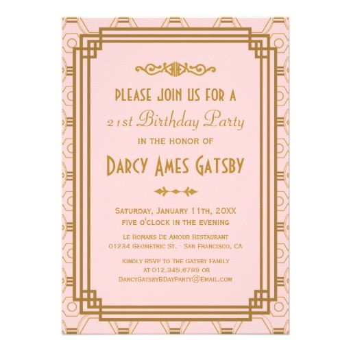 art deco birthday party invitations 161849102936425894