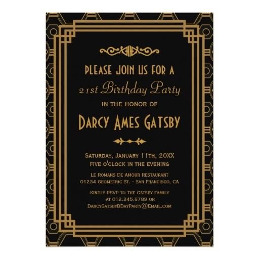 Art Deco Birthday Party Invitations Art Deco Birthday Party Invitations Zazzle