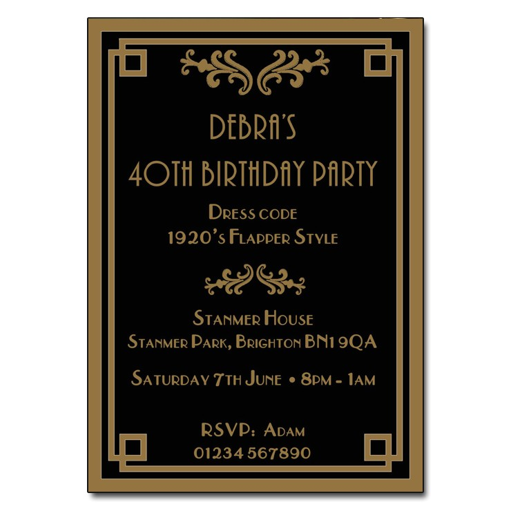 art deco style party invitations