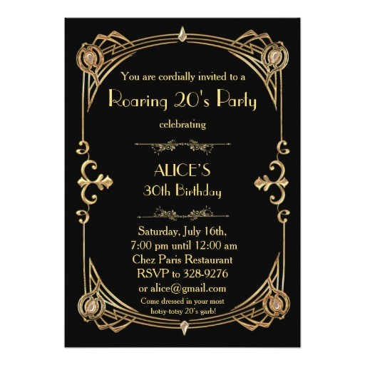 birthday party invitation any age art deco gatsby 256380405977771069