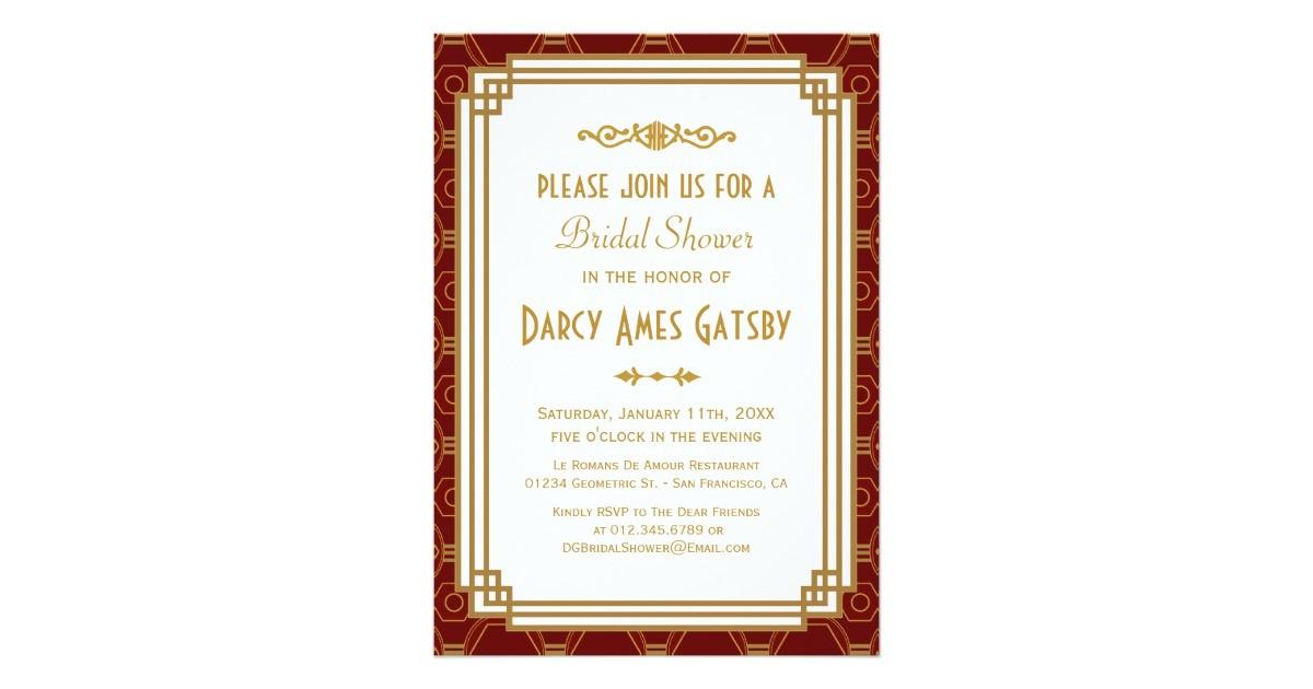 art deco bridal shower invitations 161952674786486124