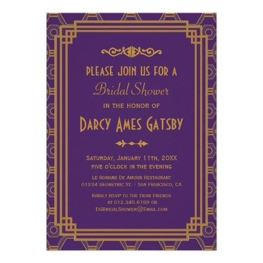art deco bridal shower invitations 161590252417134102