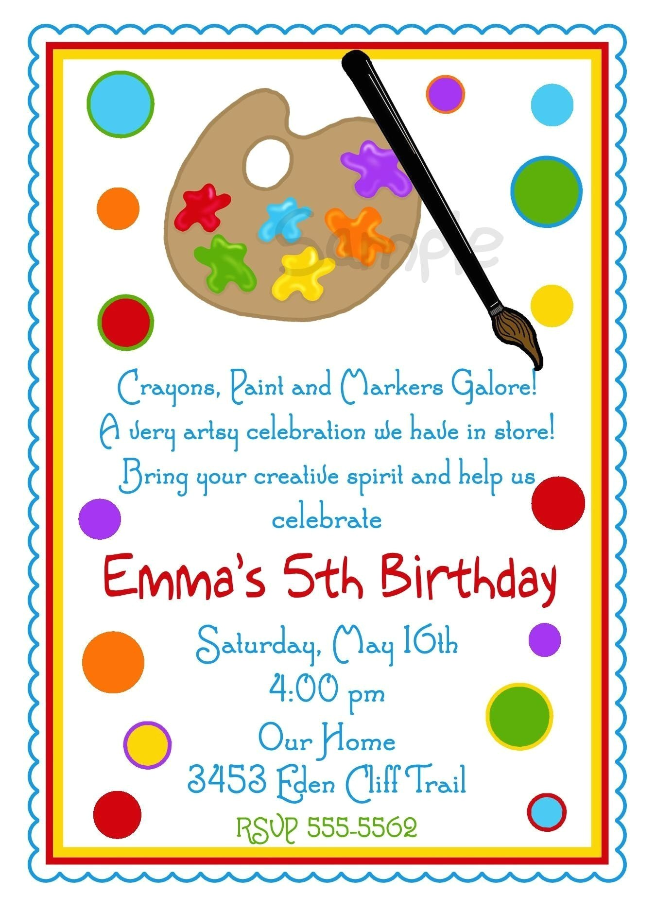art invitations art party painting