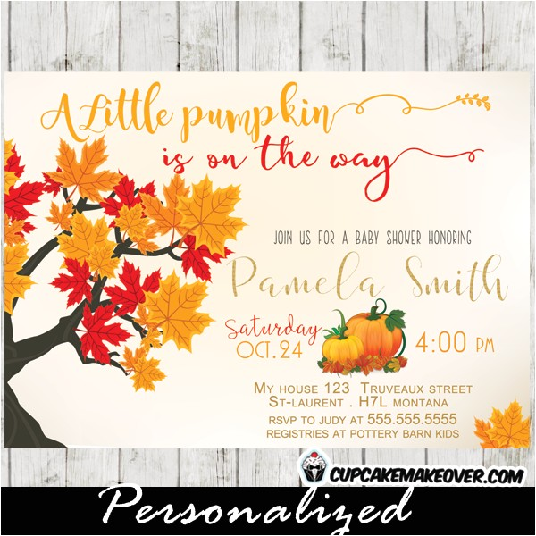little pumpkin fall themed baby shower invitations personalized
