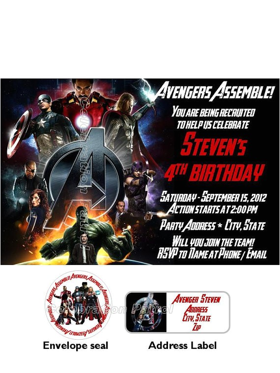 avengers custom birthday invitations