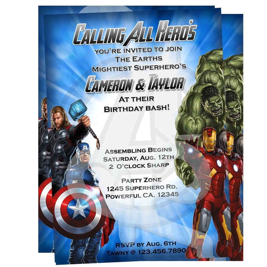 Avengers Birthday Invitations Custom Free Avengers Invitation 1 25
