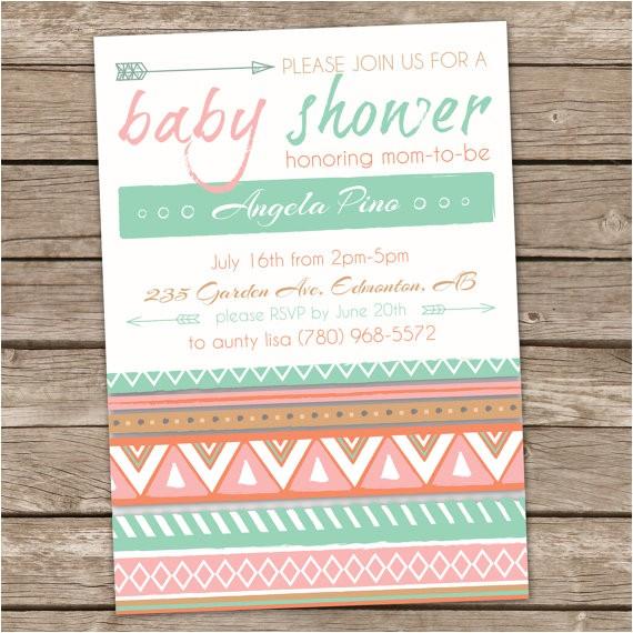 aztec baby shower invitation tribal