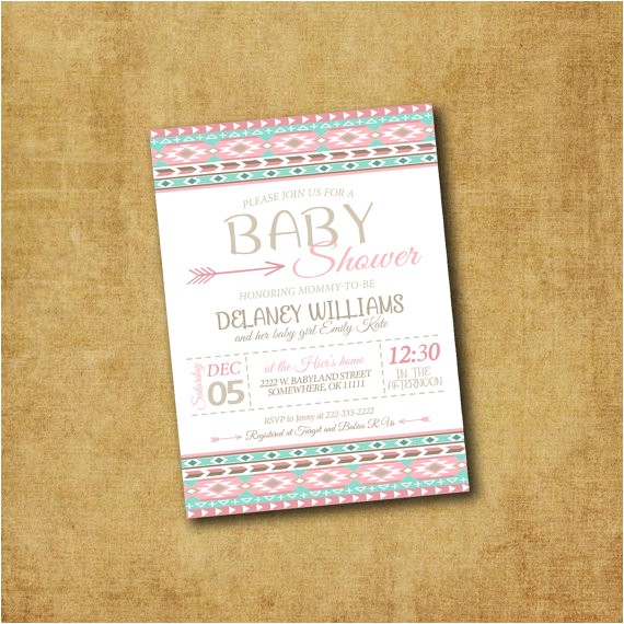 aztec baby shower invitations printable